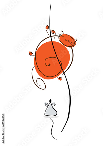 Plump red cat runs away from the mouse. Illustration