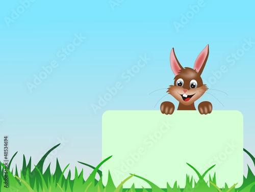Hase im Gras wünscht frohe Ostern