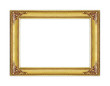 The antique gold frame on white background