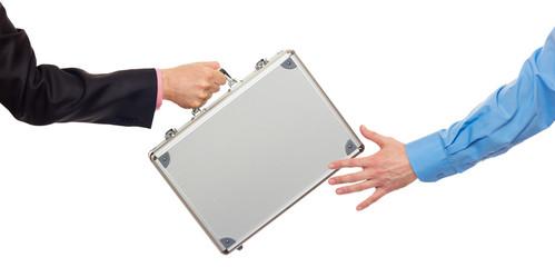 Silver metal briefcase in hands