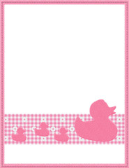 Pink Gingham Baby Frame for your message or invitation