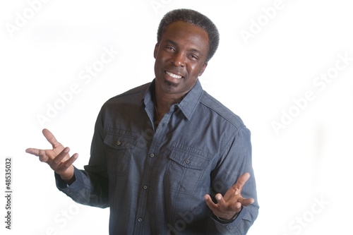 african american man with open arms
