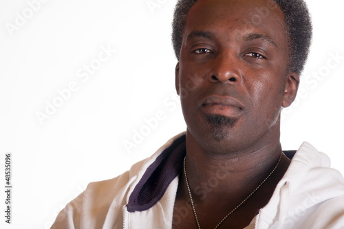 portrait of black american in sweat suit