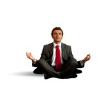 Business man practice yoga