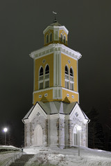 Belfry of the Kerimaki Church in winter night, Finland