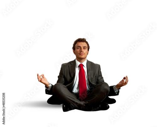 Business man practice yoga