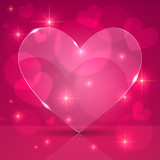 Pink thin shining glass heart on lights background