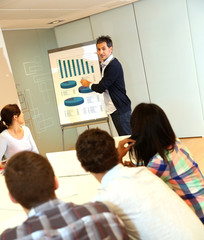 Teacher presenting business plan to college students