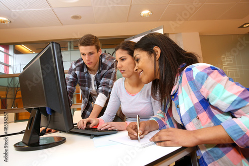 Group of students working in computer lab