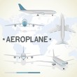 Aeroplane in different positions.