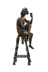 Bronze antique figurine of naked woman sitting on the chair.