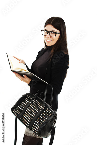Happy successful businesswoman on white background