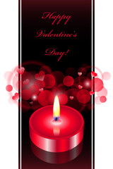 Vector romantic background with red candle