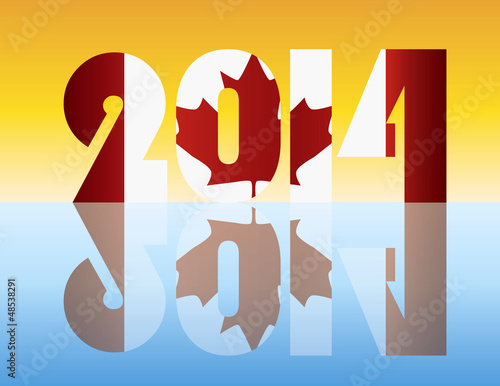 New Year 2014 Canada Flag Illustration