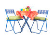 Blue furniture with party drinks