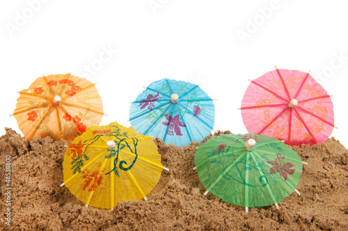 Colorful parasols at the beach