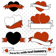 Love hearts with text banners set