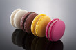 Delicious macarons of different flavors and colors