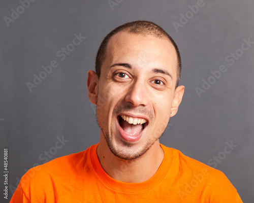 Young Man Portrait on Grey Background