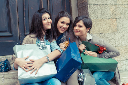 Three Happy Women After Shopping