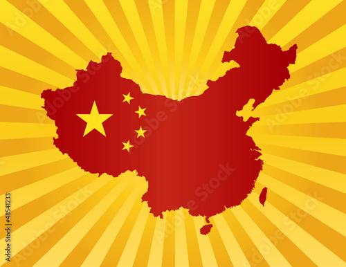 中国中文亚洲人们假期剪影国家国旗地图外形太阳射线