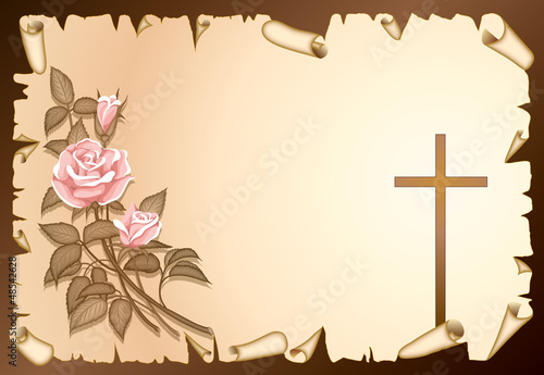 condolence with rose and cross on vellum