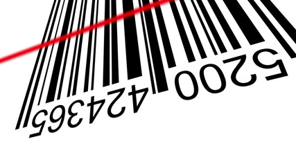 3d Barcode, positive and negative, with red laser effect.