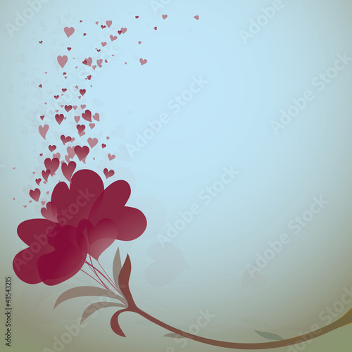 Fictitious flower in shape of heart / Romantic background