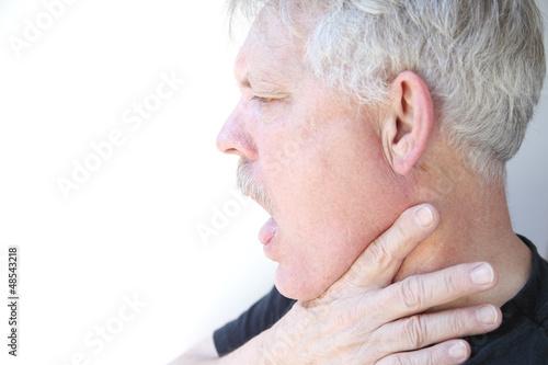 man has trouble breathing