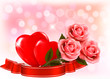 Valentine`s day background. Three red roses with two hearts and