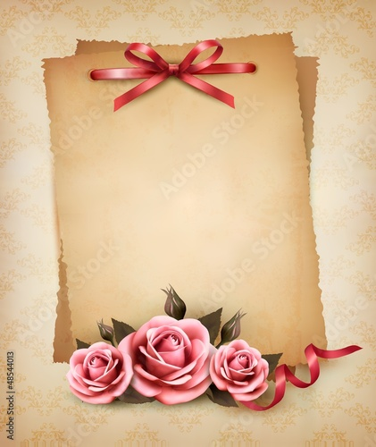 Retro background with beautiful pink rose and old paper. Vector