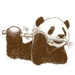 Panda and bamboo flute