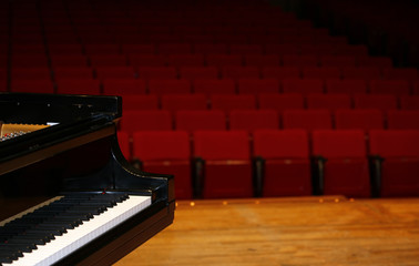 Concert grand piano view from stage
