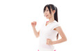 attractive asian woman jogging on white background
