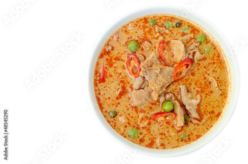 savory curry with pork (Pa Nang) isolated on white background
