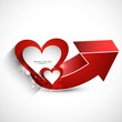 valentines day with colorful red hearts card arrow vector whit b