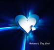Valentines day blue bright colorful shiny rays heart vector illu