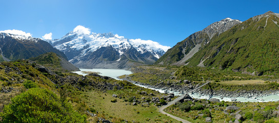 Beautiful landscape panorama view of Mt.cook, New Zealand