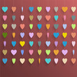 Hanging  colorful hearts