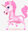 Pink unicorn cartoon