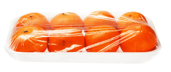 tangerines in vacuum packing