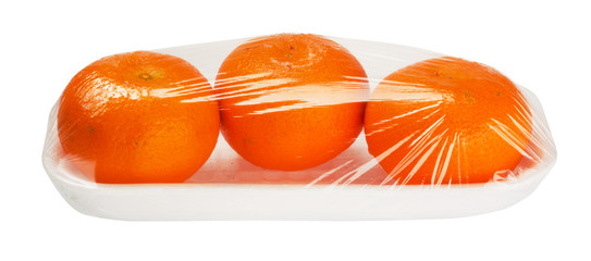 tangerines in vacuum packing