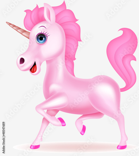 Staande foto Pony Pink unicorn cartoon