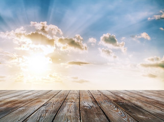 blue sunset sky and floor