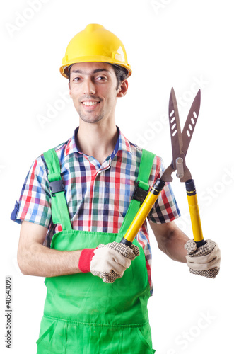 Man gardener with shears on white