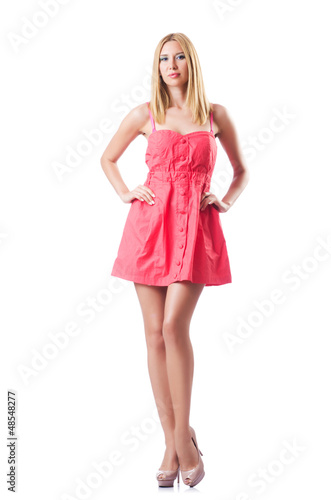Fashion concept with tall model on white