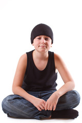 boy in a black T-shirt