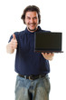 Mid-aged man in blue shirt with netbook showing thumbs up