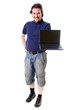 Mid-aged man in blue shirt holding netbook
