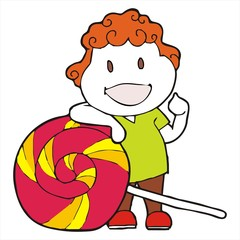 curly haired boy cartoon candy vector